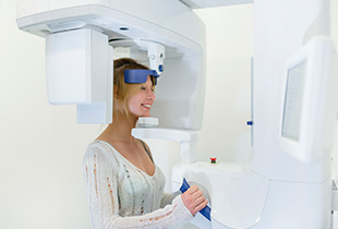 Woman receiving 3D cone beam scans